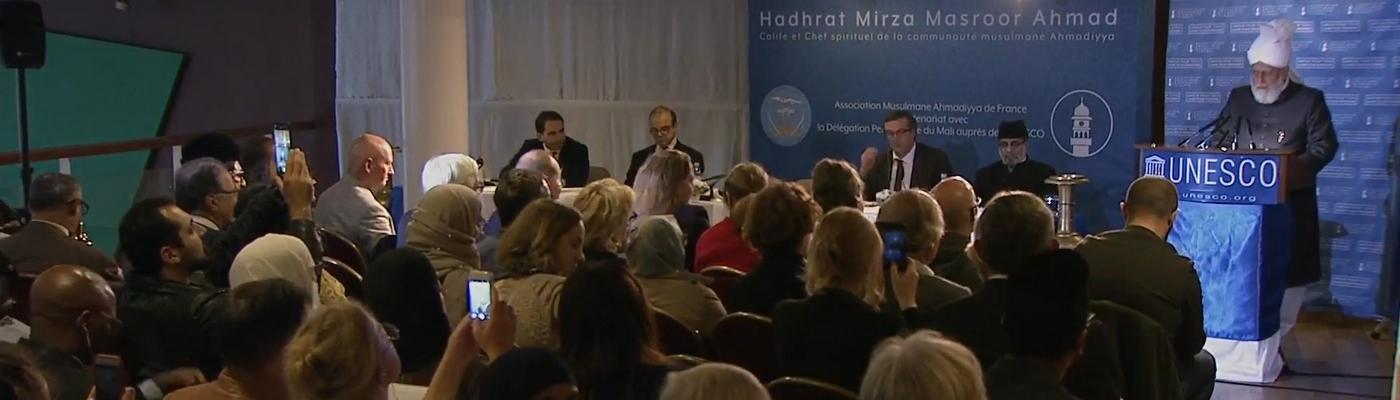 Den 5. kalifen, Mirza Masroor Ahmads tale i UNESCO
